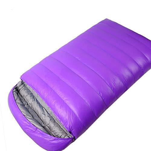 Jue Doppelschlafsack Paar Doppel Erwachsene Outdoor Warmweiß Entendaunen Gefüllt Herbst Und Winter Indoor Verdickung Verbreitert Warm Lila A+ (Color : Purple)