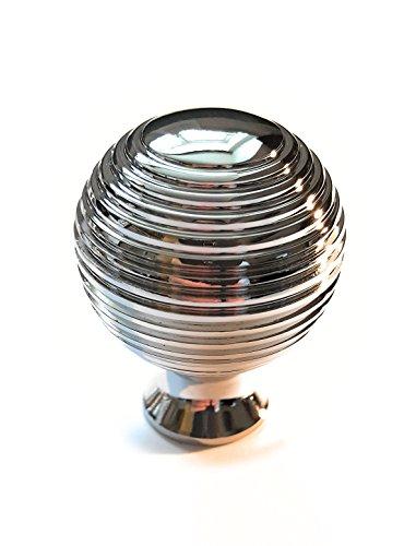 FFF Türknauf-Set, 6 Stück, geriffeltes Königin-Anne-/Bienenkorb-Design, poliertes Chrom, für Küchenschränke, Schubladen, Schlafzimmer, Möbelknöpfe, 31 mm Durchmesser, 39 mm tief (Schlafzimmer-sets Königin)