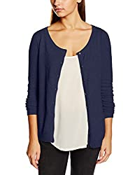 VERO MODA Womens Cotton Sweater (10137098_Black Iris_L)