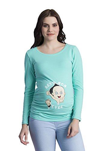 Baby First Tee T-shirt (Best Mom Ever - Witzige süße Umstandsmode T-Shirt mit Motiv Schwangerschaft, Langarm (Large, Mint))