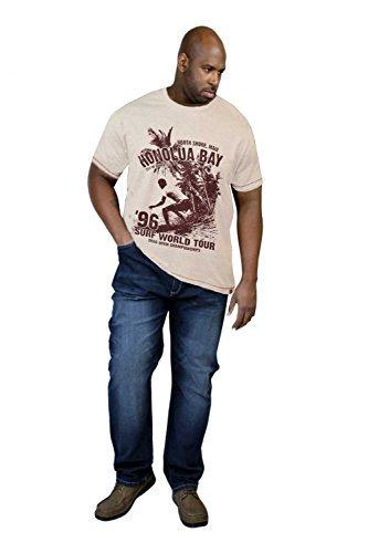 Duke D555 Mens Grande Alto Misura King Cortez Clayton Girocollo Manica Corta Tshirt Stampate - Bianco Marna, 4XL - TORACE 56-58