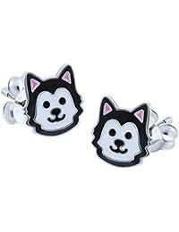 Dog Earrings - Sterling Silver - Black & White