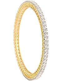 Ratnavali Jewels American Diamond Studded Gold Plated Traditional White Bangles Set CZ Bangle Set White Diamond...