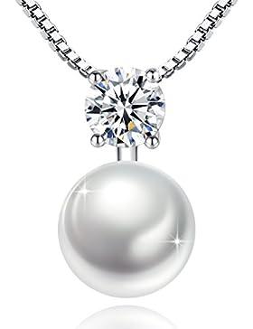 Damen Halskette mit Anhänger Perlen Silber 925, Jessibox Nickelfrei Silberkette Kette Collier für Frauen und Mädchen...