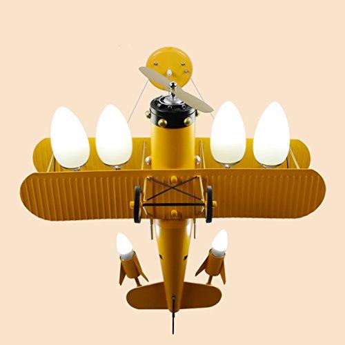 LINA Lustre en fer forgé de dessin animé de chambre de lampe de chambre de garçon de chambre d'avion de lumière d'avion rétro, 68x71x60cm (Couleur : Le jaune)
