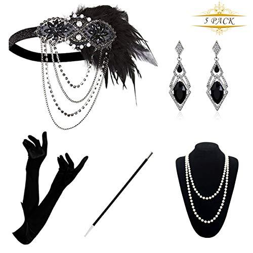 KQueenStar 1920er Jahre Zubehör Set Flapper Kostüm Accessoires für Damen 20s Gatsby Jahre Stirnband Kopfschmuck Ohrringe Perlen Halskette Handschuhe Zigarettenspitze, Black Set A, M