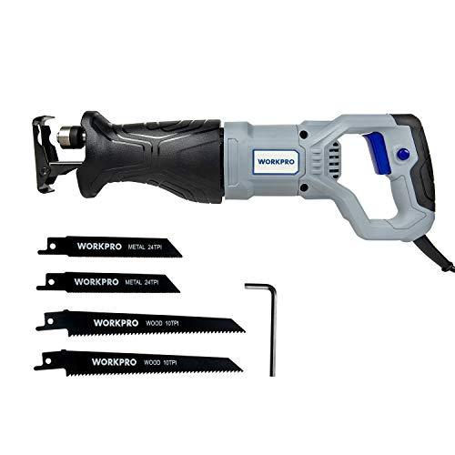 WORKPRO Sierra Sable 0-2800 RPM 710W/220-240V/50Hz Profundidad Madera 115mm/ Metal 4mm Carrera de Hoja 20mm con 4 Cuchillas de Cambio Rápido Sin Herramienta