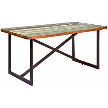 Links 85300400 Unikat Esstisch Küchentisch Shabby Chic Metalltisch Rostig  Bunt Recycling Holz