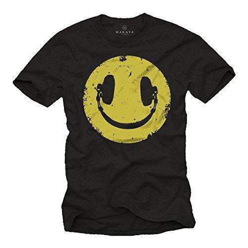 MAKAYA Camiseta Negra Hombre Hipster - Auriculares Hip Hop - Talla XXXL