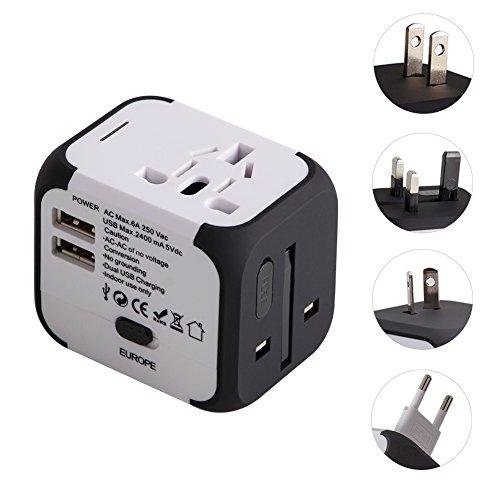 Milool universellen Reise-Adapter mit Doppel USB-Ports aus 150 Ländern weltweit US UK EU AU Universal fusionierten Sicherheit AC-in einem Ladegerät(weiß)