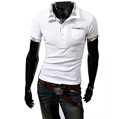 Boom Fashion Herren Poloshirt Kurzarm Slim-Fit kontrast Polohemd Weiss