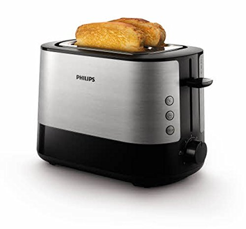 Philips Daily HD2637/90 - Tostador 950 W, Doble Ranura, Color Negro, Inox