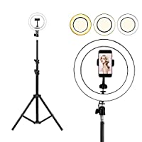 Selfie Ring Light with Tripod Stand, Womdee LED 3 Light Modes Ringlight with Cell Phone Holder, 10 inch Inner USB Selfie Ring Light for YouTube Video and Live Makeup/Photography (160CM)