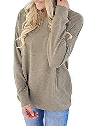 276e7c22cdbe LAIKETE T-Shirt a Manche Longue Femme Elegant Haut Automne Hiver Col Rond  Lâche Tunique
