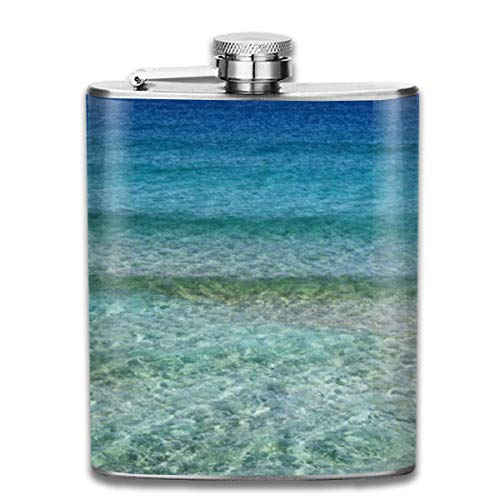 Presock Flachmann,Blue Ocean Water Bath Mat Rug 7 Oz Printed Stainless Steel Hip Flask for Drinking Liquor E.g. Whiskey, Rum, Scotch, Vodka Rust Great Gift -