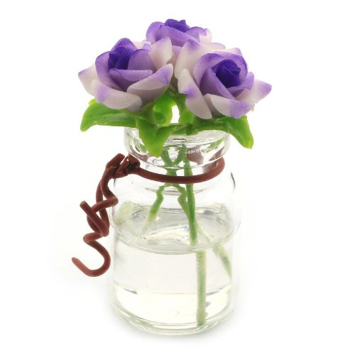 MyTinyWorld 3 miniatures Violet/roses blanches dans une Caleçon VASE EN VERRE