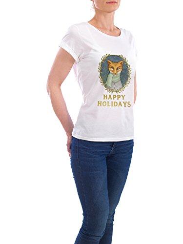"""Design T-Shirt Frauen Earth Positive """"Happy Holidays Fox"""" - stylisches Shirt Weihnachten von Melanie Clarke Weiß"""