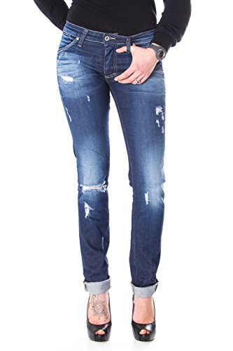 Please Slim-FIT Jeans Boyfriend P95 P95HFU3T64 GERISSEN XXS dunkle Denim