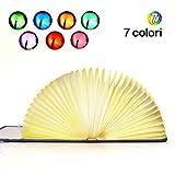 Lampada del Libro USB Lampada del Libro Ricaricabile Pieghevole, EVILTO Portatile Lampada Led 1800mAh Creativo a Forma di Libro Scrivania Lampada da Tavolo - 7 Colori