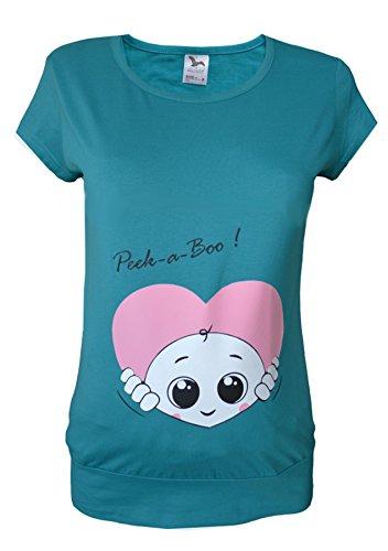Maternité Grossesse - 20 Coeur Coton Peek a boo Tunique T-Shirt à imprimé Noir/turquoise/Violet/blanc/rose/bleu/vert Noir - Bleu-vert
