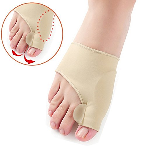 Bunion Pads, Bunion Corrector Toe Protectores Bunion Gel Pad Spandex Bunion Toe Reforzadores Esparcidor con 2 botines 1 par
