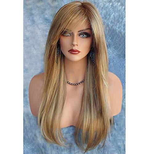 HAOBAO Weibliche schräge Pony Lange Glatte Haare Perücke Gold 46 Punkte Micro-Roll Hochtemperatur-Seide synthetische Perücke Head Set -