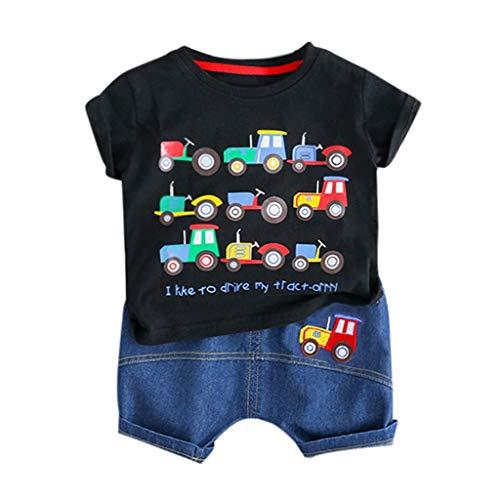Kleinkind Baby Outfits Set,Jungen Kurzarm Cartoon Auto Gedruckt Brief Tops T-Shirt+ Kurze Hosen Freizeit Outfits Set 0-24 Monate Neugeborenes Baby Zweiteiliger Anzug(Schwarz,6-12 Monate/80) -