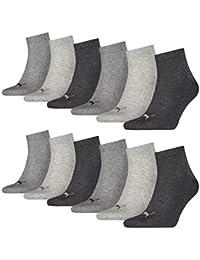 12 pair Puma Sneaker Quarter Socks Unisex Mens & Ladies, Farben:656 - middle grey mélange/pink, Socken & Strümpfe:39-42