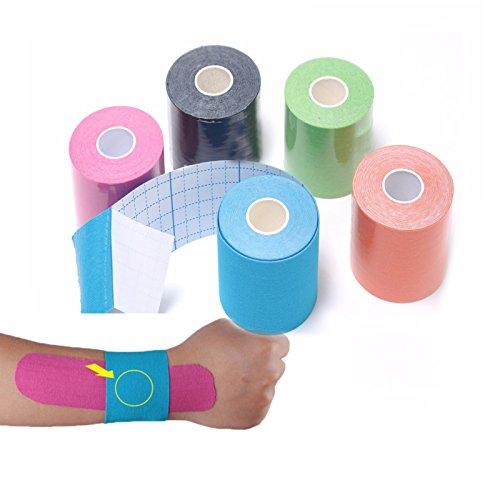 JUEYAN 6 Rollen Kinesiologie Tape 5 X 500 CM Sporttape Wasserdicht Elastisches Kinesiology Sport Tape Tapeverband aus Baumwolle - 2
