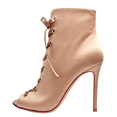 ENMAYER Femmes Suede Matériaux Cheville Bottes Talons Hauts Peep Toe Cross-Tied Chaussures Abricot