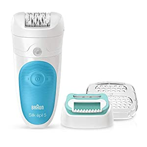 Braun Silk-Epil 5-511 Starter Kit Wet and Dry Epilator for Women, Cordless Epilation and Hair Removal Plus Beginners Cap, 3 Attachments