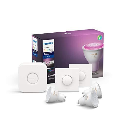 Philips Hue White & Color Ambiance GU10 LED 3-er Starter Set, dimmbar, 16 Mio. Farben, steuerbar via App, kompatibel mit Amazon Alexa (Echo, Echo Dot)