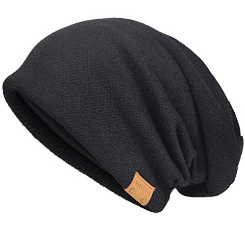 Herren Baumwolle Mütze Strickmützen Slouch Beanie Schädel Cap Winter Sommer Hüte (Schwarz)