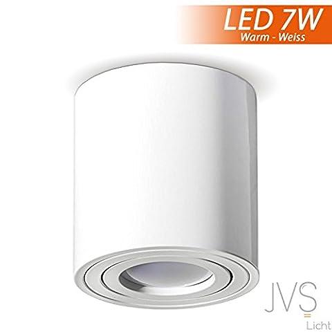 Aufbauleuchte Deckenleuchte Aufputz MILANO 7W LED Warmweiss GU10 Fassung 230V [rund, weiss, schwenkbar] Deckenleuchte Strahler Deckenlampe Kronleuchter aus Aluminium