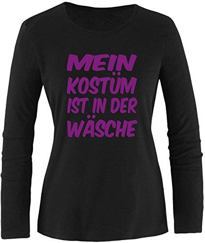 Luckja Mein Kostüm ist in der Wäsche Damen Longsleeve Schwarz/Violett