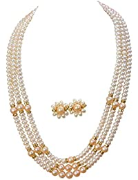 6bfea8e60 Classique Designer Silver Alloy with Gold Plated Button Pearl Necklace Set  for Women(cp013)