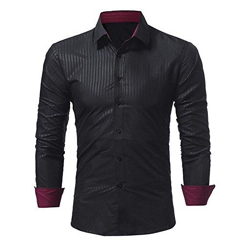 Camicia a maniche lunghe stripe uomini, nero, l