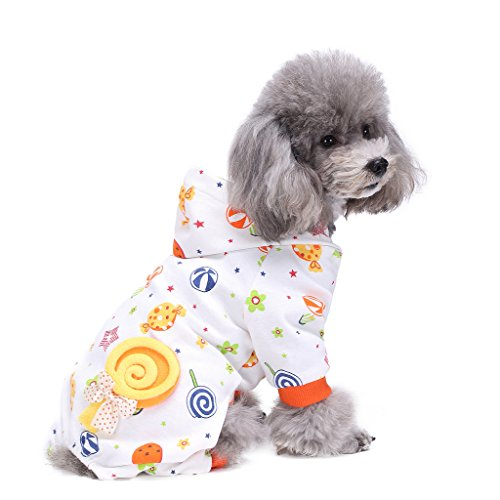 tüme Outfit Candy World Muster Komfortable Puppy Schlafanzug Weiche Hund Jumpsuit Shirt Best Geschenk 100% Baumwolle Mantel für kleine und mittlere Hunde (Mops Halloween-kostüm Für Erwachsene)