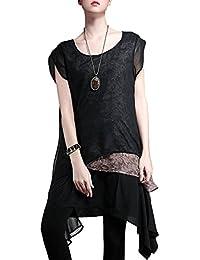 ELLAZHU Femme Fleur Imprime Gauze Multi-couches Sans Manches Robe DY32