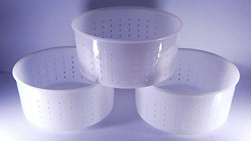 3 x Käseform 15x7.2cm - 1.2kg - Caciotta - Käseformen | Korb | Käseherstellung | Lab