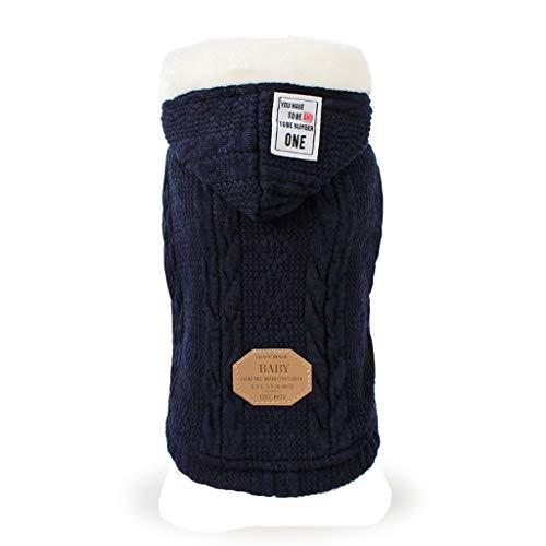 Hunde Wintermantel, Haustier Hoodie Sweater für Kleine Hunde & Katzen Strickwaren Welpen Winter Kleidung(Dunkelblau ,S)