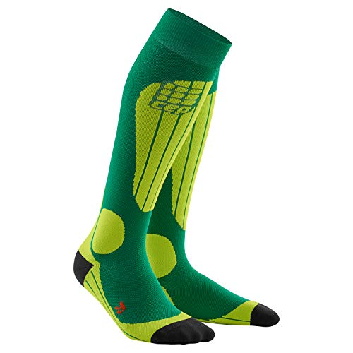 CEP pro+ ski Thermo Socks for Women, III, Forest/Light Green Womens Thermo