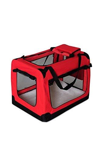 dibea TB10051 Hundetransportbox Hundetasche Faltbare Autobox Kleintiertasche (Größe und Farbe wählbar), rot