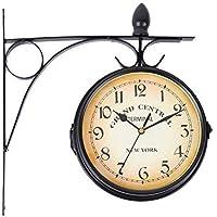 iglobalbuy soporte montaje en interior y exterior para doble cara reloj de pared estación de tren jardín reloj, negro