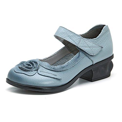 Socofy Mocasines Rojos Flores Velcro Zapatos Mujer