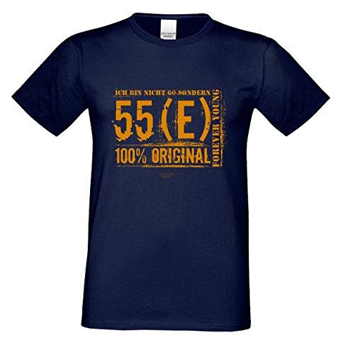 Niveuvolles Designer Sprüche-Shirt als Top Geschenke-Idee für alle Menschen mit Stil Motiv: Ich bin nicht 60 Farbe: navy-blau Navy-Blau