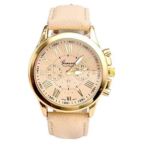 JSDDE Direct Uhren,Elegant Damen Candy Römisch Ziffern Chronograph Armbanduhr,Kunstleder Band Analog Qaurzuhr Beige