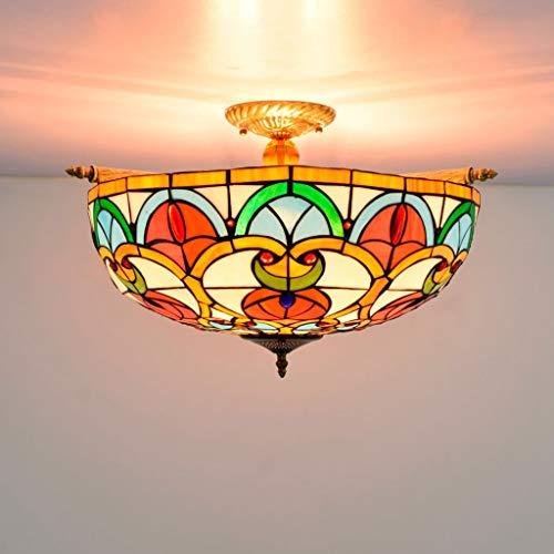 Deckenleuchte 55CM Retro Luxus-Buntglas-Deckenleuchte Wohnzimmer Speise Bar Schlafzimmer Arbeitszimmer Hotel Lighting-Pfirsich-Herz-Korn-Deckenleuchte (55 * 35 cm) deckenlampe kinderzimmer -