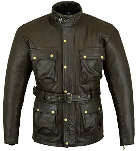 Braun Classic Waxed & Oiled Leather Cowhide Motorcycle Motorbike Jacked Armoured by Bikers Gear UK, Braun, L