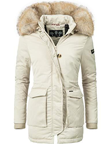 Navahoo Damen Winter-Jacke Winter-Mantel Schneeengel (vegan hergestellt) Creme Off White Gr. S Winter Kapuze Jacke